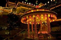 Templo leve acima por o ano novo chinês Fotos de Stock
