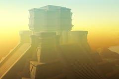 Templo maya en calina Foto de archivo