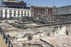 Templo Mayor Aztec ruins in downtown Mexico City, Mexico. Templo Mayor ruins in downtown Mexico City, Mexico Stock Images