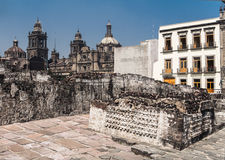 Templo Mayor Mexico City Cathedral Royalty Free Stock Images