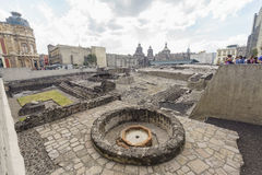 Templo Mayor Museum. Mexico City, FEB 19: The historical and beautiful Templo Mayor Museum on FEB 19, 2017 at Mexico City Royalty Free Stock Images