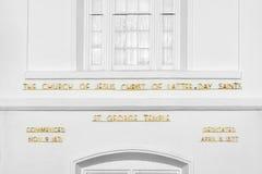 Templo mormón del St George Utah LDS en madrugada imagenes de archivo