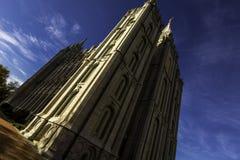 Templo mormón durante la primavera Foto de archivo libre de regalías