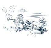 Templo motivo japonés de la tarjeta del bosquejo del vector de los símbolos tradicional stock de ilustración