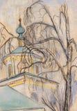 Templo na vila ilustração do vetor
