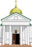 Templo ortodoxo do russo idoso. Vetor. Fotografia de Stock