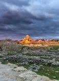 Templo ortodoxo en el senset Foto de archivo libre de regalías