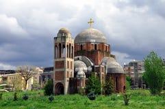 Templo ortodoxo servio inacabado del salvador del santo fotografía de archivo