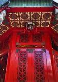 Templo rojo Hong-Kong del Taoist del pecado de Wong Tai de la ventana Fotografía de archivo