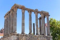 Templo romano antiguo en Evora Fotos de archivo libres de regalías