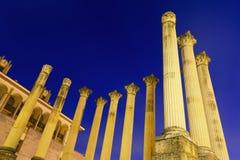 Templo romano antiguo en tiempo de la tarde Imagen de archivo libre de regalías