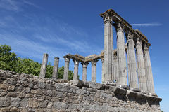 Templo romano de Evora Foto de archivo libre de regalías