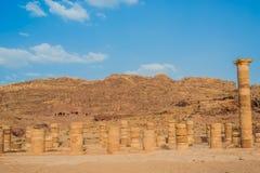 Templo romano en la ciudad nabatean de petra Jordania Fotos de archivo libres de regalías