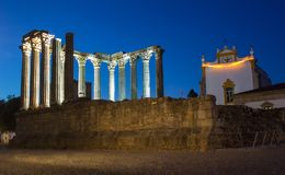 Templo Romano Roman temple at night from behind in the city of Royalty Free Stock Images