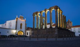 Templo Romano Roman temple at night in the city of Evora, Port Royalty Free Stock Image
