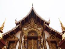 Templo tailandês isolado no fundo branco, wat Chiang Mai Thailand rajamontean Foto de Stock Royalty Free