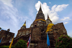 Templo velho do pagode de buddha com o céu branco nebuloso em Ayuthaya Tailândia Fotografia de Stock Royalty Free