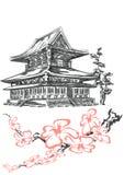 Templo y cereza Fotos de archivo