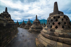 Templo Yogyakarta de Borobudur. Java, Indonésia Imagens de Stock