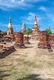 Templos antiguos en Ayutthaya, Tailandia Foto de archivo libre de regalías