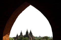 Templos de Bagan através de um indicador Fotografia de Stock Royalty Free