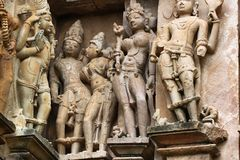 Templos de Khajuraho e suas esculturas eróticas, Índia Imagem de Stock Royalty Free