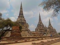 Templos de piedra antiguos de Ayutthaya, Tailandia foto de archivo libre de regalías