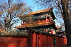 Templos del parque rojo de la montaña Imagenes de archivo