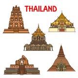 Templos e iconos tailandeses de los stupas señal del viaje stock de ilustración