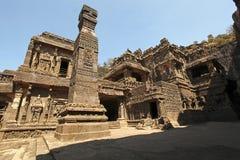 Templos hindu antigos do rocha-corte de Kailasa situados em Ellora foto de stock royalty free