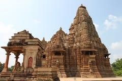 Templos y sus esculturas eróticas, la India de Khajuraho Fotografía de archivo libre de regalías
