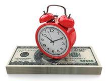 Tempo é dinheiro conceito com pulso de disparo e dólares Imagem de Stock