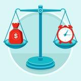 Tempo é dinheiro - conceito no estilo liso ilustração do vetor