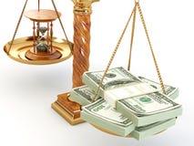Tempo é dinheiro. Dinheiro e hourglass na escala Imagens de Stock Royalty Free