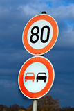 Tempo 80 on a country road. Speed limit with speed 80 on a country road. Road Sign Royalty Free Stock Image