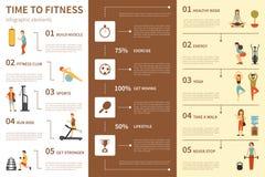 Tempo all'illustrazione piana infographic di vettore di forma fisica Concetto di presentazione illustrazione di stock