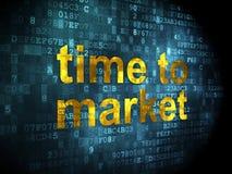 Tempo ao mercado no fundo digital Imagens de Stock