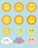 Tempo bonito: sol, lua, estrela, nuvens Elementos do projeto para ilustrações das crianças Fotografia de Stock