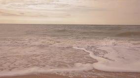 Tempo calmo no litoral Ondas em um close-up vazio da praia do mar, video estoque