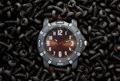 Tempo/conceito industriais do relógio Foto de Stock