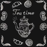 Tempo conservado em estoque do chá da ilustração com bule retro e imagem modelada do vetor ilustração stock