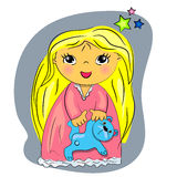 Tempo da cama da menina. criança dos desenhos animados que joga com t Fotografia de Stock Royalty Free