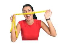 Tempo da dieta da mulher Fotografia de Stock
