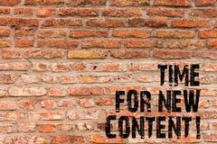 Tempo da escrita do texto da escrita para o índice novo Conceito que significa o tijolo de publicação do conceito da atualização  imagem de stock