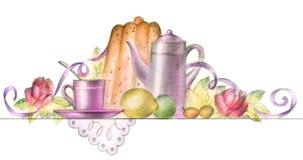 Tempo da sobremesa ilustração stock
