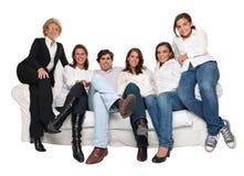 Tempo da tevê da família Foto de Stock Royalty Free