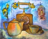 Tempo de Batic para o chá Imagens de Stock Royalty Free