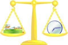 Tempo de equilíbrio e dinheiro Fotos de Stock Royalty Free