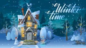 Tempo de inverno Noite do Natal, a casa da família antes de um feriado Uma ilustração para o cartão Cartaz do ` s do ano novo ilustração stock