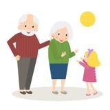 Tempo de lazer feliz dos povos superiores com neta Avós felizes com neta pequena ilustração royalty free